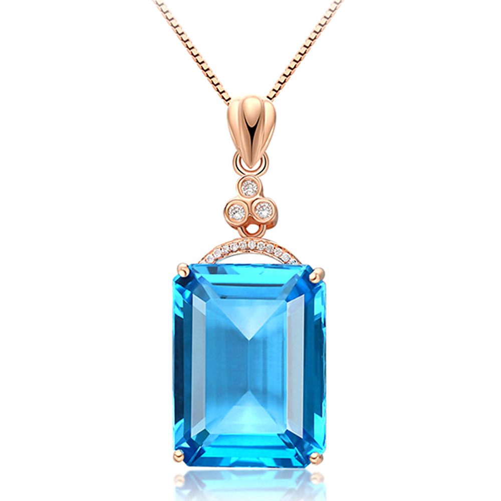 Big Aquamarine Gemstones Diamond Pendant Necklaces For Women Blue Crystal Rose Gold Silver 925 Choker Chain Jewelry Bijoux Bague