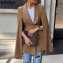 Fashion Women Blazers Shawl Sleeve Solid Color Work Office Business Blazer Coats VONDA 2020 Autumn Female Suits Plus Size