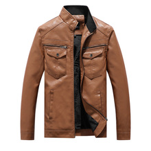 New Men Leather Jackets Motorcycles British Business Casual Fashion High Quality Military Tactical Jacket PU Mens Bomber Jacket