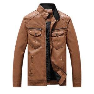 Image 1 - Nowe męskie kurtki skórzane motocykle brytyjska biznesowa moda codzienna wysokiej jakości wojskowa kurtka taktyczna PU męska kurtka Bomber