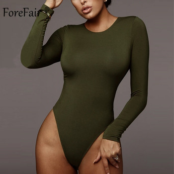 Forefair Sexy Skinny Solid Long Sleeve Bodysuit Women Bodys Top Autumn Winter Female Elegant O Neck Slim White Black Bodysuit 8