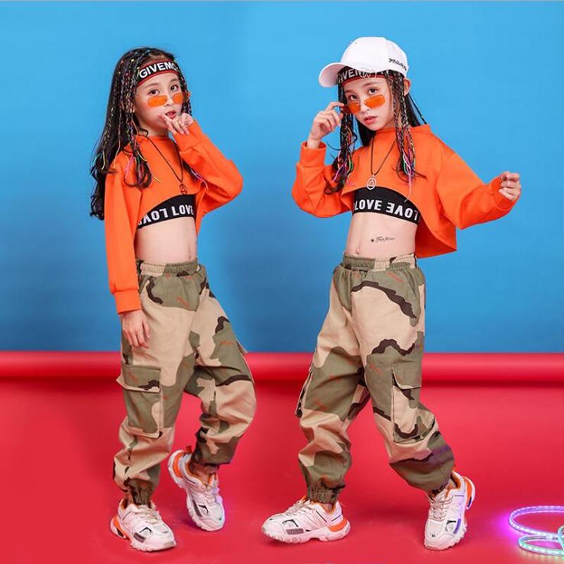 Children Hip Hop Clothing Sweatshirt Top Crop Running Casual Pants For Girl Kid Jazz Dance Costume Wear Ballroom Dancing Clothes