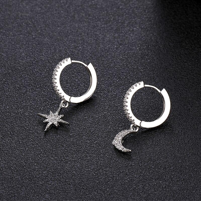 Trendy Cubic Zircon Star Moon Hoop Earrings Luxury Gold And Silver Color Asymmetrical Earrings For Women Korean Jewely 2019
