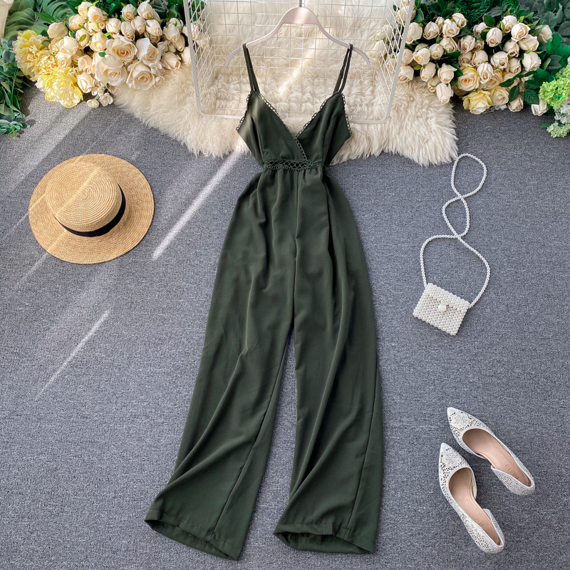 2020 V Neck Vintage Hollow Out Sexy Summer Full Length Jumpsuit Women Spaghetti Strap Playsuit Backless Beach Holiday Romper