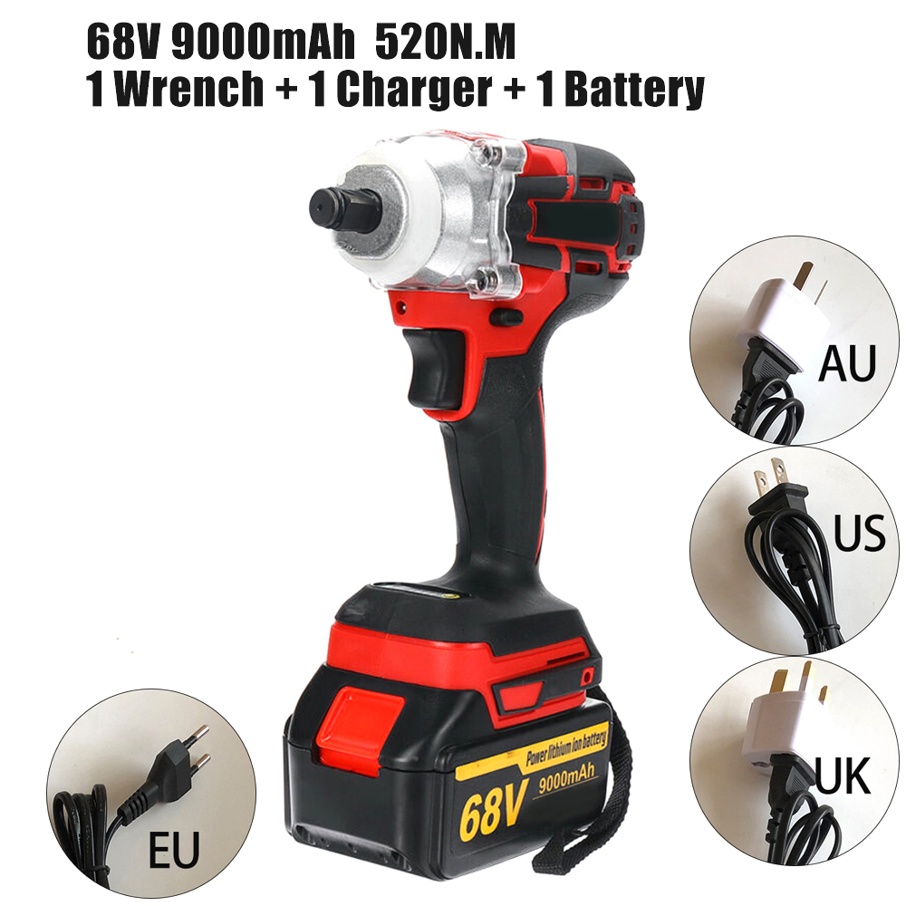 1pcs Angle Grinder 68V 9000mAh 520N.M Electric Impact Wrench Cordless Brushless For Grinding Power Tool With Battery