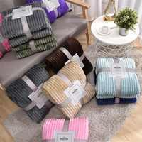 Manta cálida lana color Coral suave gris, Sábana de invierno, colcha, sofá a cuadros, a rayas, ligera, mecánica