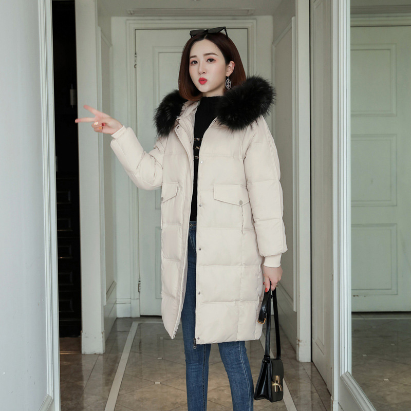 QIHUANG 2019 Winter Hooded Fur Collar   Down     Coat   Women Long Jacket Thick Plus Size Female Winter   Coat   Thicken Warm Parkas