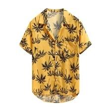 Casual Men's T shirt Summer Hawaiian Printed Short sleeve shirt Casual Loose Beachwear Buttons Tops Men Coconut Tree Print Shirt