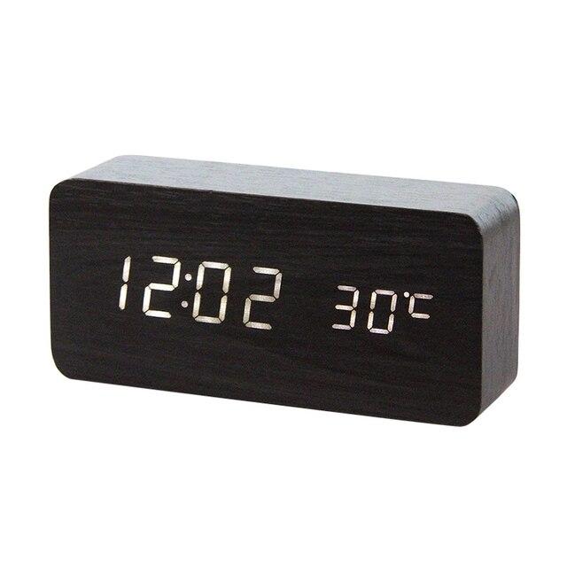 LED Legno Alarm Clock Orologio Da Tavolo di Controllo Vocale Digitale di Legno Despertador Desktop Elettronico USB/AAA Alimentato Orologi Da Tavolo Decor 2
