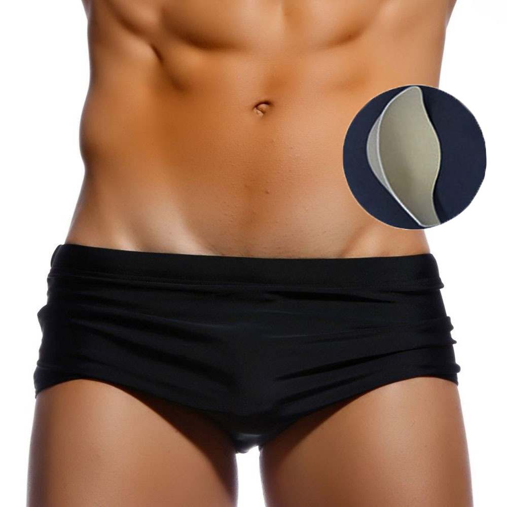 Black Solid 2020 Swimsuit Padded Mens Swim Briefs Sexy Summer Beach Wear Zwembroek Heren Push Up Cup Gay Swimwear Men 14 Styles