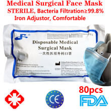 Máscara protetora médica cirúrgica não tecida da máscara da boca da máscara da boca 80 pces earloop descartável estéril 3 camadas meltblown