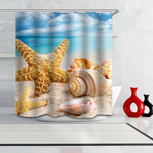 Partition Curtain Digital-Printing Bathroom Polyester Waterproof Beach And Shell