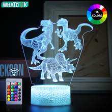 Luz de noche LED 3D de dinosaurio con control remoto táctil para niños, lámpara de mesa con luz nocturna, decoración para bebés y niños