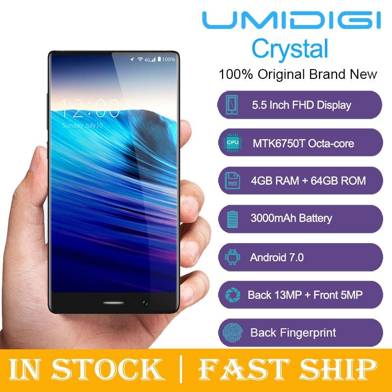 UMIDIGI Crystal 4GB RAM 64GB ROM 5.5 Inch Android 7.0 MTK6750T Octa Core 1.5GHz Fingerprint Scanner Glonass 4G Smartphone