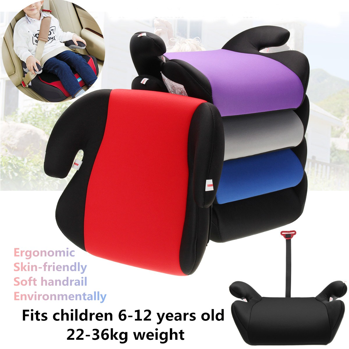 Car Booster Seat Safe Sturdy Kids Children Child Baby Increased Seat Pad Fits 6-12 Years Old
