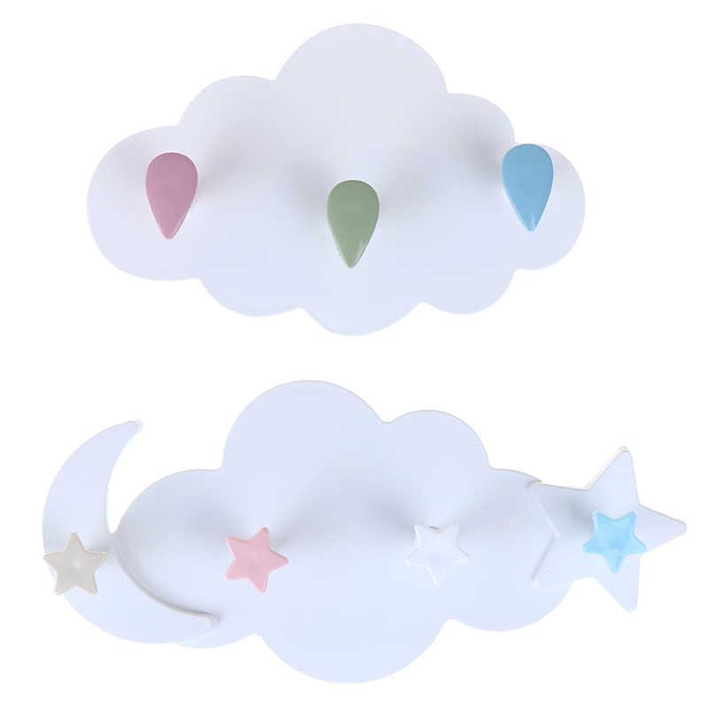 Creative חמוד כוכב ירח ענן צורת נייל-משלוח קיר בגדי ווי חדר ילדים דקורטיבי מפתח תליית קולב מטבח אחסון וו