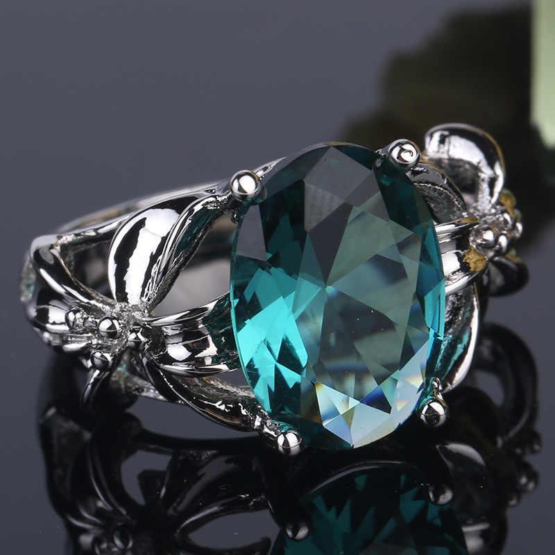 2019 ใหม่แฟชั่นผู้หญิงแหวนคริสตัลสีเขียวเข้ม Zircon แหวนสุภาพสตรีของขวัญเครื่องประดับ Aneis แหวนมรกต