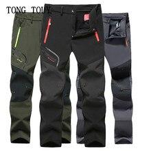 Тактические водонепроницаемые походные брюки, мужские Стрейчевые флисовые брюки из мягкой ткани, уличные спортивные осенне-зимние мужские...