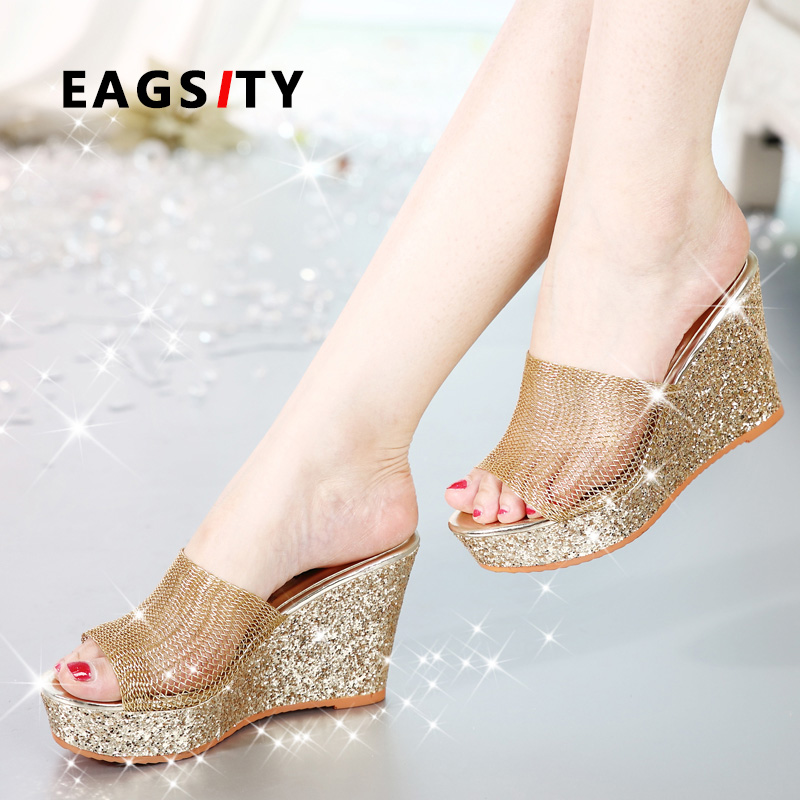 EAGSITY sequined women wedges sandals