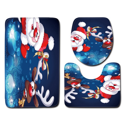 Bathroom Set Non-Slip And Water-Absorbing Christmas Style Bathroom Set With Bathroom Mat Toilet Cover And Toilet Seat Cushion