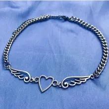 Metal Choker Necklace Jewelry Angel Pendant Punk Harajuku Hip-Hop Heart-Feather Girl
