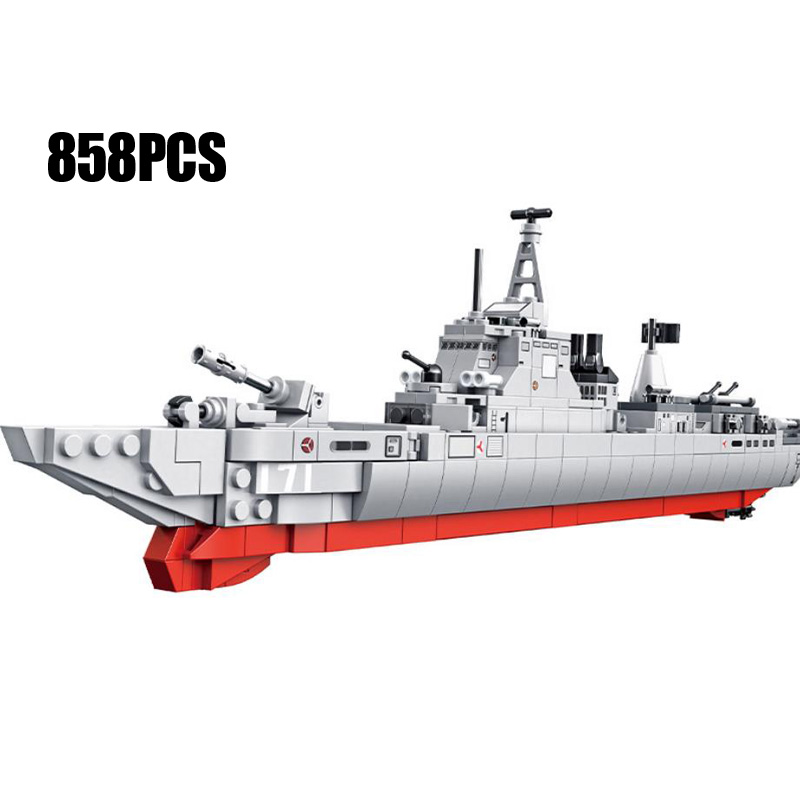 modern military 4in1 type 052 missile Destroyer block ww2 army force figures Armored car fighter Hovercraft T85 tank bricks toys image