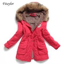 새로운 겨울 여성 자 켓 중간 긴 두꺼운 플러스 크기 4XL outwear 후드 wadded 코트 슬림 파 카 코 튼 패딩 자 켓 오버 코트