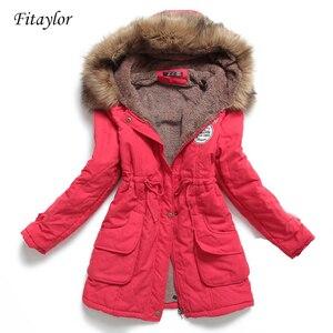 Image 1 - Chaqueta de invierno para mujer, Abrigo acolchado de algodón, largo y grueso de talla grande 4XL, prendas de vestir, Abrigo acolchado