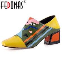FEDONAS 2020 Fashion Prints Frauen Synthetische Leder High Heels Party Hochzeit Schuhe Frau Karree Frühjahr Sommer Grund Pumpen