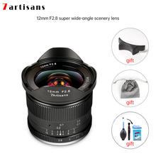 Lente ultra larga do ângulo dos artesãos 12mm f2.8 das lentes 7 para as câmeras sem espelho a6500 a6300 a7 da e-montagem aps-c foco manual prime fixo