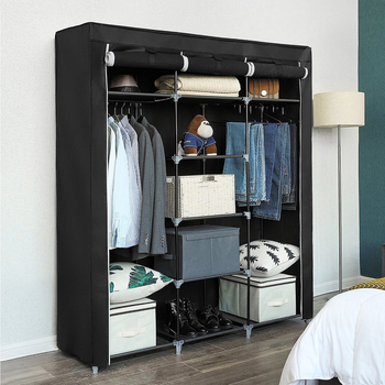 Armario de tela no tejida de gran capacidad, armario de tela portátil plegable, a prueba de polvo, ropa impermeable, muebles de gabinete de almacenamiento