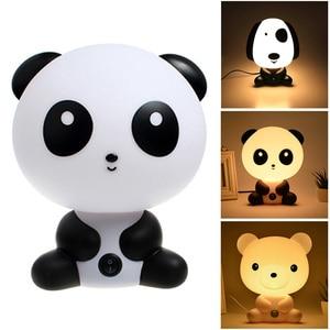Night Sleeping Lamp Baby Room Panda/Rabbit/Dog/Bear Cartoon Light Kids Bed Decoration Lamp For Kids Baby Night Light Gift(China)