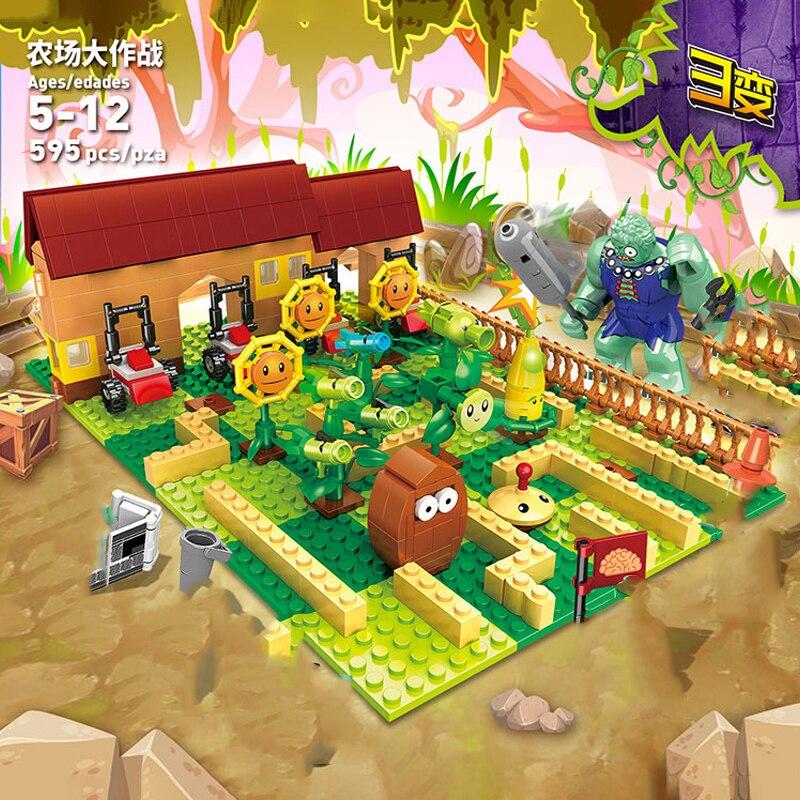 595PCS Building Blocks Bricks Set Zombies Farm Game Toys for Girls Boys Children Model Kit Gift DIY
