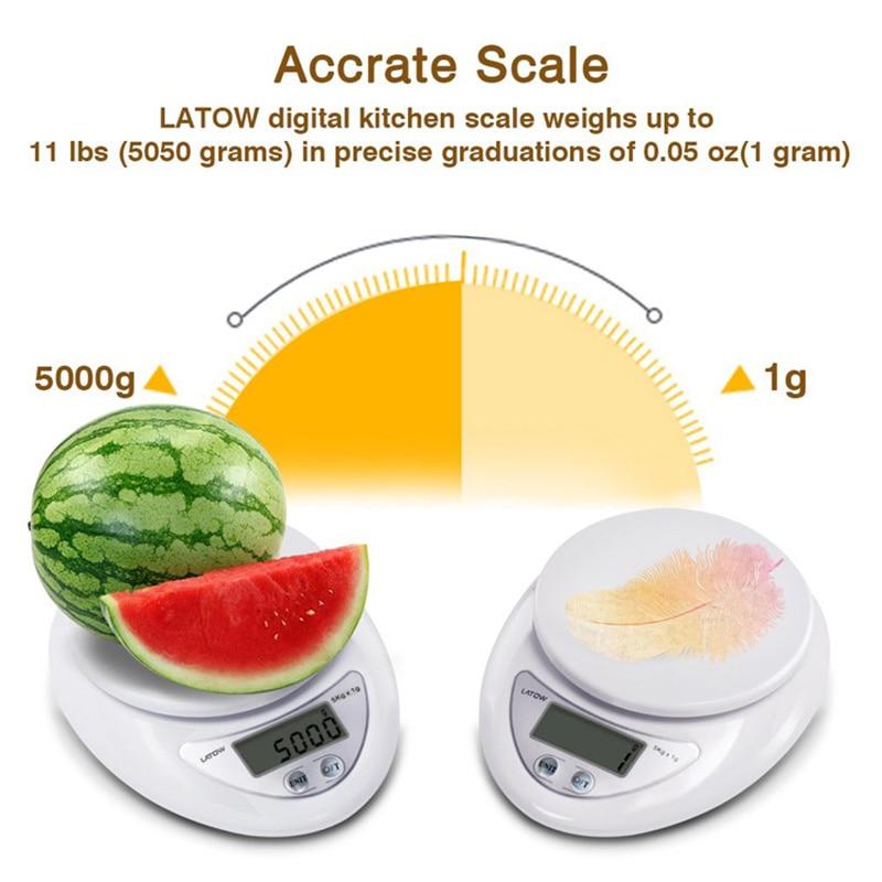Портативные цифровые весы 5 кг/1 г, пищевые, диетические, кухонные, светодиодный электронный измерительные весы, кухонные весы для выпечки и приготовления пищи-4