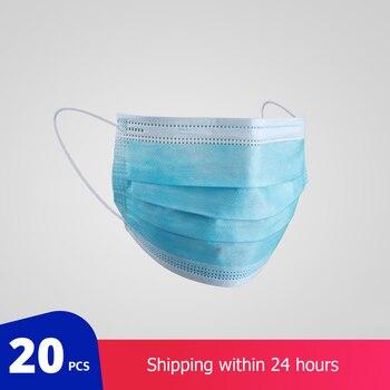 20 PCs di Protezione Chirurgica Maschera Non tessuto Antipolvere Ispessita E Getta Bocca 3-strato Viso