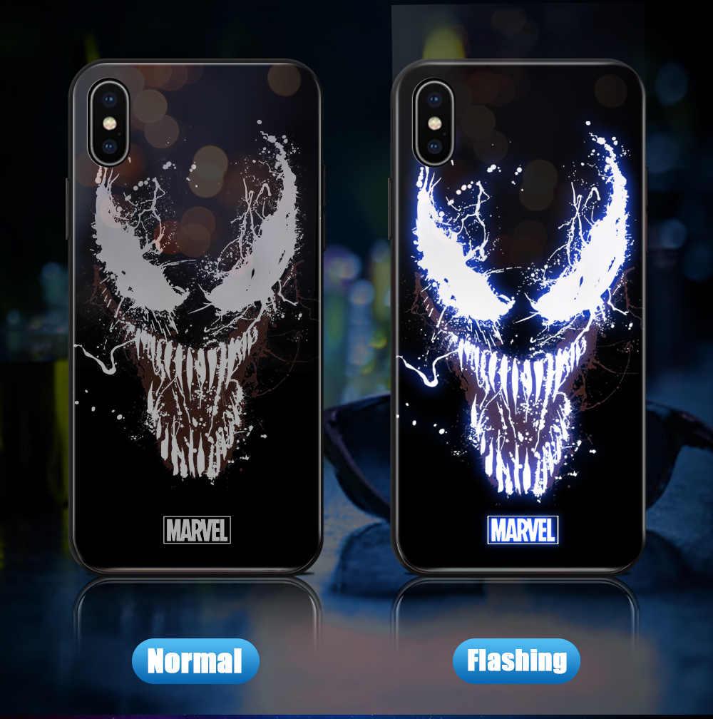 Para iphone xs max xr 11 pro casos led piscando marvel avengers ironman embalagem capa de vidro temperado para iphone 6 s plus 7 8