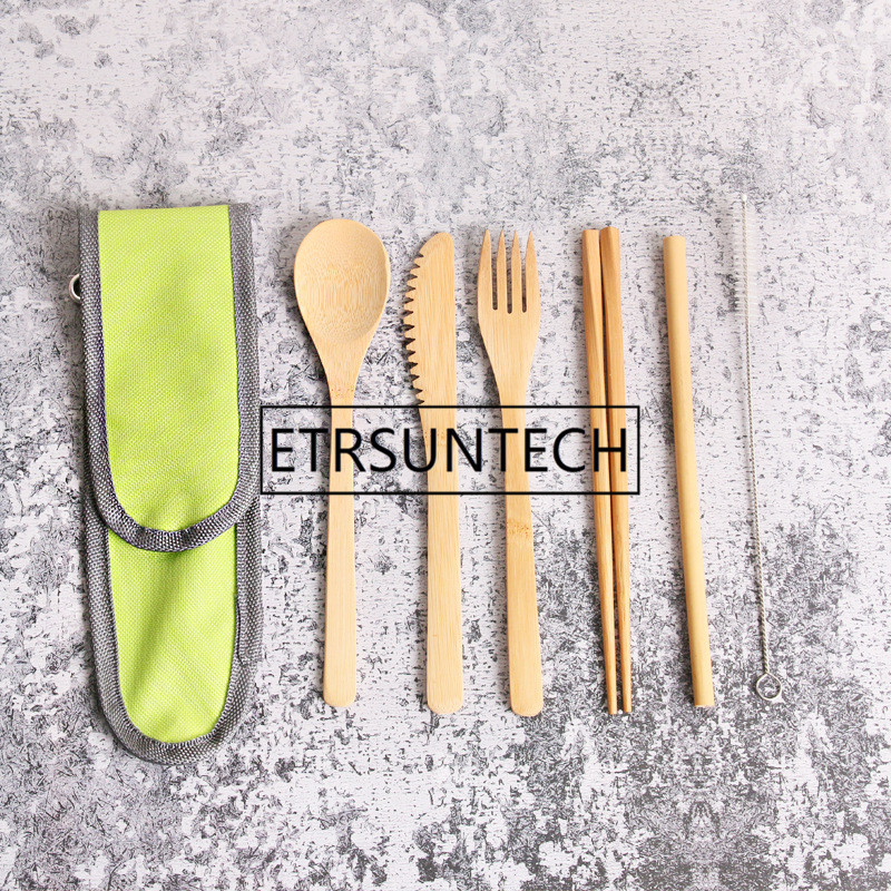 50Set/lot Travel Cutlery Wood Portable Tableware Set Wooden Cutlery Sets Travel Dinnerware Set Suit Environmental with Bag