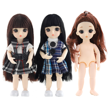 New 3D eyes 16 cm BJD doll 1/8 doll 6 inches ob11 nude baby nude doll clothes shoes wig change makeup makeup girl birthday gift yativavi 1 6 bjd factory doll 22 joint body special offer low price diy modified makeup girl gift naked doll 30 cm shoes clothes