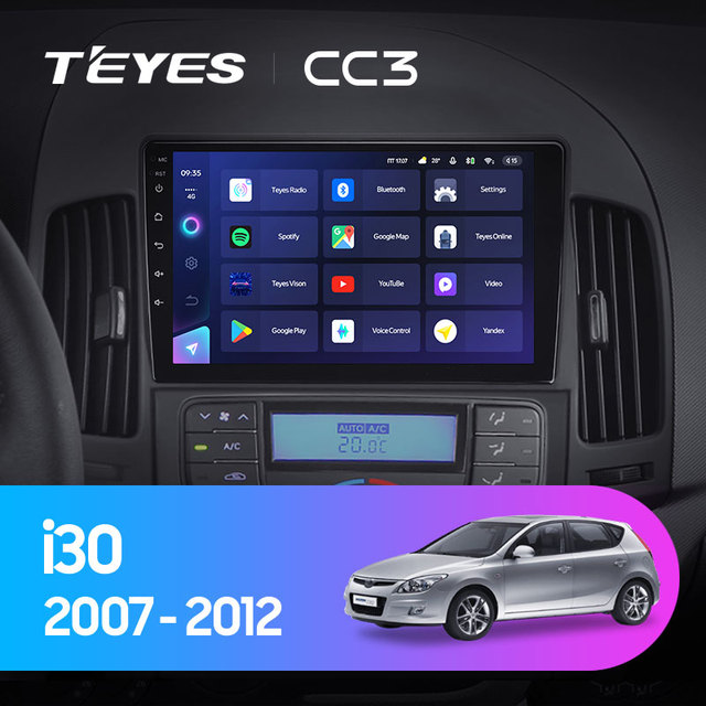 TEYES CC3 Штатная магнитола For Хендай Ай 30 FD For Hyundai i30 1 FD 2007 - 2012 до 8-ЯДЕР, до 6 + 128ГБ 27EQ + DSP carplay автомагнитола 2 DIN DVD GPS android 10 мультимедиа автомобиля головное устройство 2