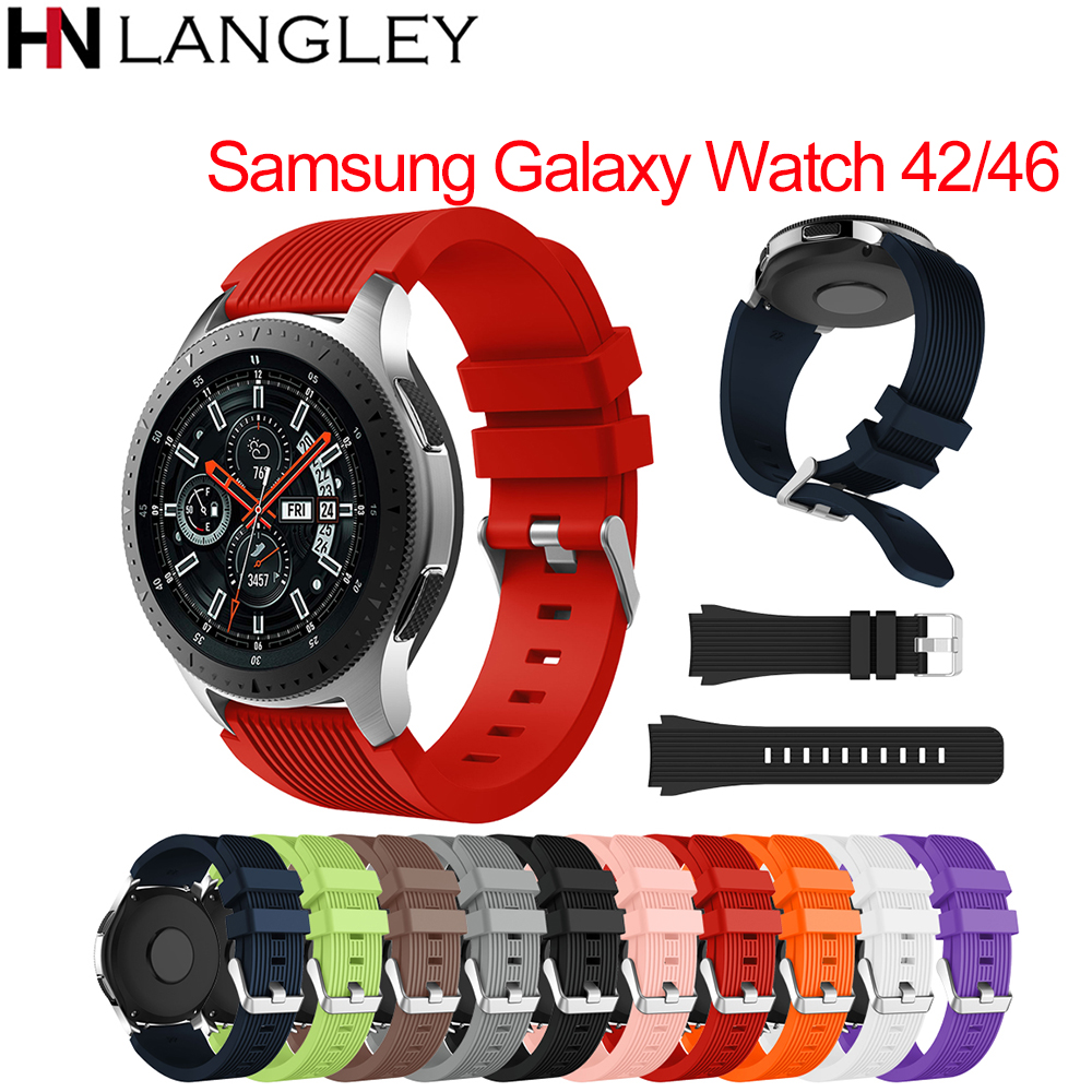 Silicone Sport Watch Band Strap For Samsung Galaxy Smart Watch 46MM 42MM Rubber Watchband For Gear S3 Frontier S2 Classic 20/22