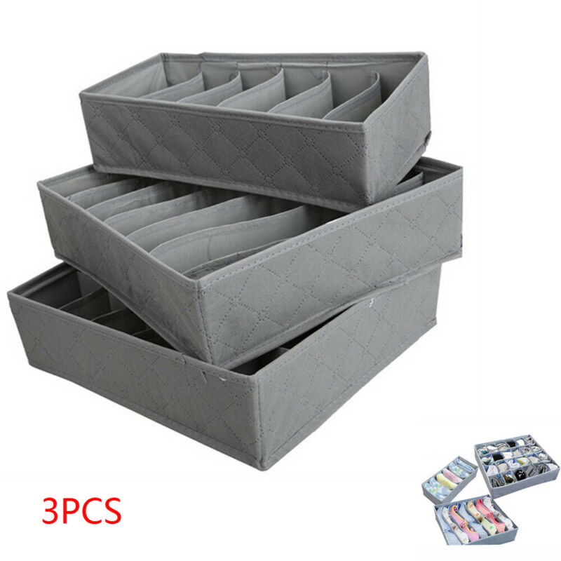 New 3pcs/lot 3 In 1 Bamboo Storage Box Container Drawer Divider Lidded Closet Boxes For Ties Socks Bra Underwear Organizer