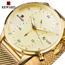 REWARD VIP Gold Watch Male Chronograph Luxury Watch 3ATM Clock Man Luminous Hands Stainless Steel Mesh Strap for Business