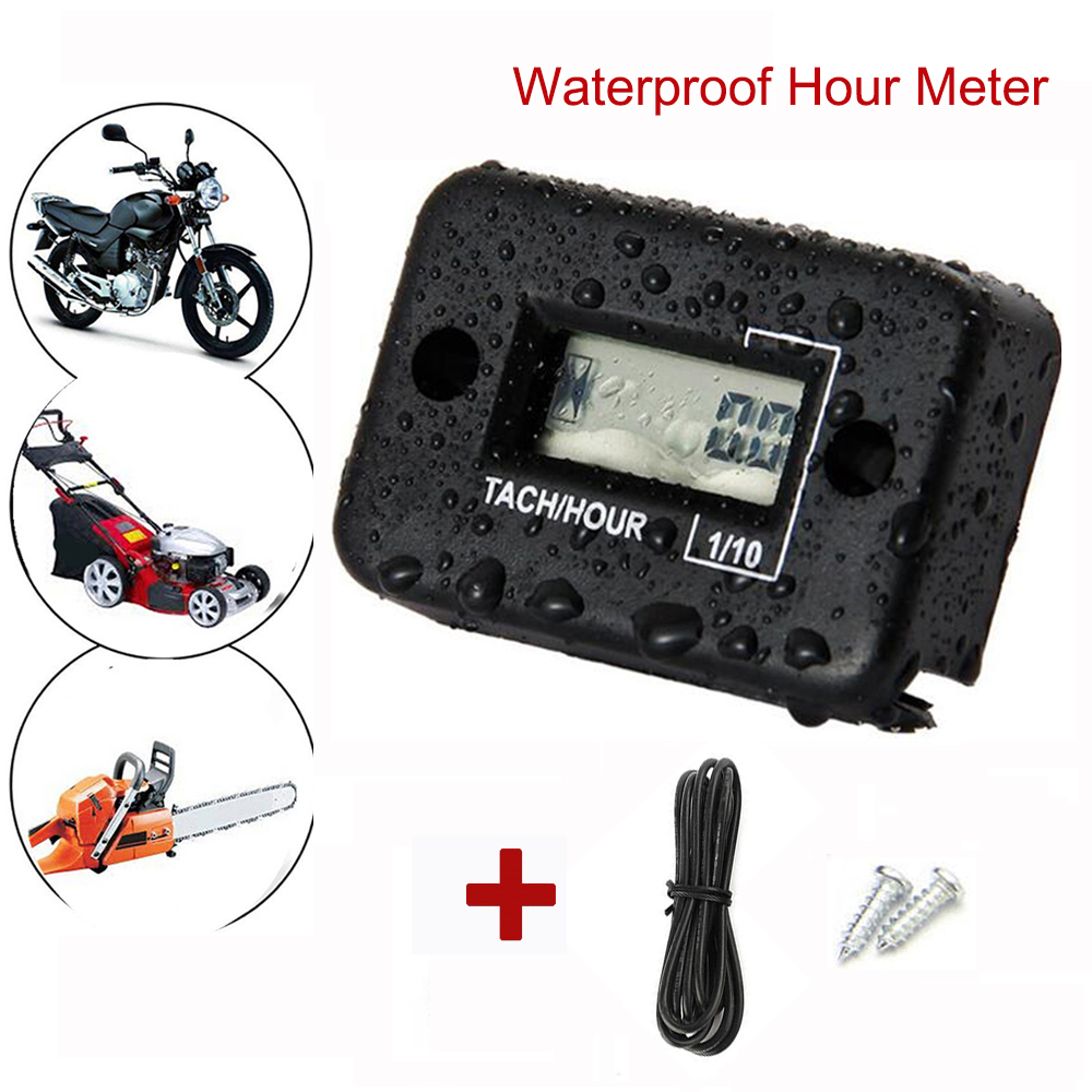 Hour Meter Motorcycle Gauge LCD Display Hour Meter for 4 Stroke Gas Engine Offroad Panel Hour ATV Motorcycle Generator Bike-in Instruments from Automobiles & Motorcycles