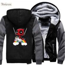 Deadpool Hoodie Men Super Hero Hooded Sweatshirt Black Grey Coat 2018 Winter New Brand Fleece Thick Funny Dead Pool Jacket Homme