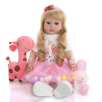 24 Inch lovely Reborn toddler Girl Doll 60 cm Soft silicone vinyl bebes reborn Cloth Body blond Princess Doll playmate gift