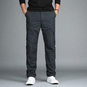 Image 5 - 男性のフリース貨物パンツ冬厚く暖かいパンツ全身マルチポケットカジュアル軍事だぶだぶ戦術的なズボンプラスサイズ 3XL