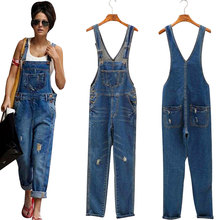Pickyourlook Denim Blue Women Overalls Jumpsuit Rompers Belted Hole Hollow Out Pocket Lady Overall Fashion Female Pants Jumpsuit buttoned pocket belted palazzo jumpsuit