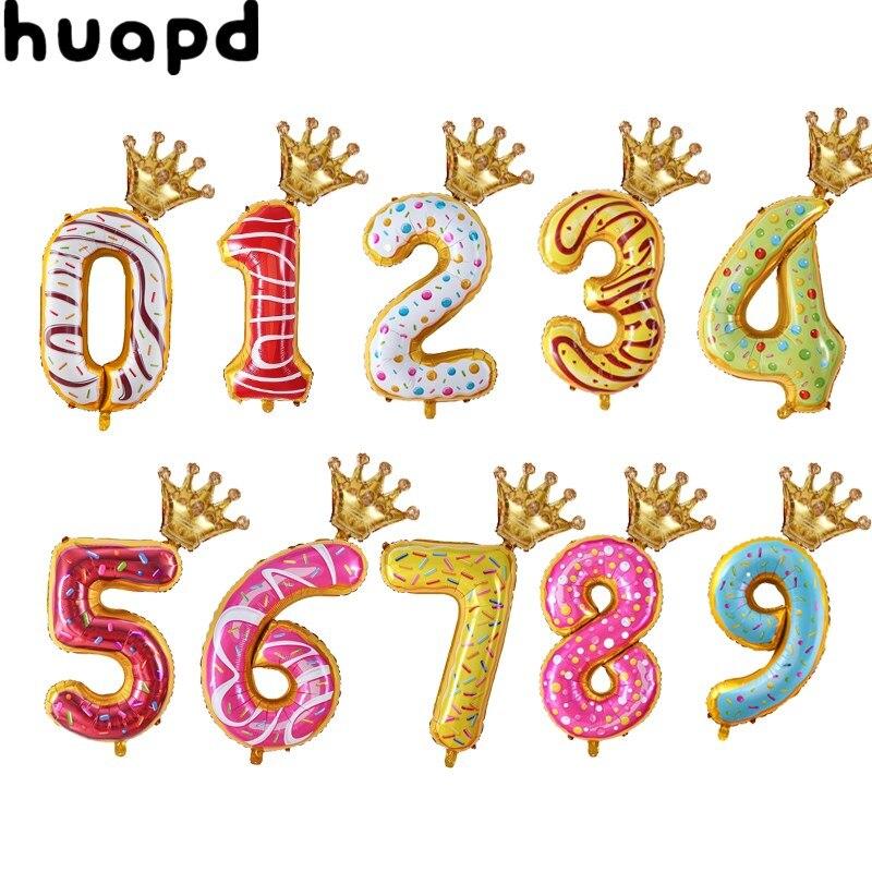 1 Набор из 16/32 дюймов на день рождения воздушные шары золотые шары из фольги в виде цифр 1 для детей 2, 3, 4, 5, 6 лет Happy День рождения украшения дет...