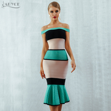 Adyce 2020 New Summer Green Bandage Dress Women Sexy Slash Neck Short Sleeve Off Shoulder Hot Club Celebrity Evening Party Dress