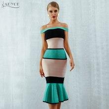 Adyce 2020 חדש קיץ תחבושת שמלת נשים Vestidos סקסי סלאש צוואר שרוול קצר כבוי כתף מועדון סלבריטאים ערב המפלגה שמלה